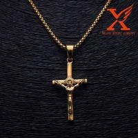 Stainless Steel Jesus catholic jewelry making crosses 18k gold