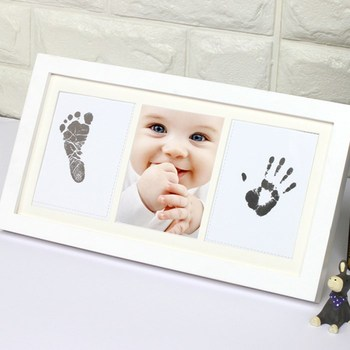 New Baby Boy Girl Gift Inkless Hand And Footprints Kit Frame ...