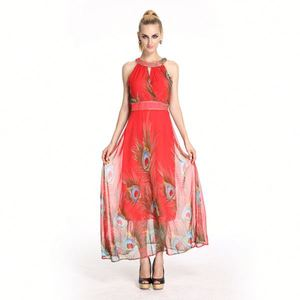 Retro Peacock Printing Pattern Chiffon Sexy Red Maxi Dress