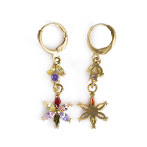Charming Flower Design 18k Gold Filled Inlay Cubic Zirconia Dangle Drop Earrings for Women