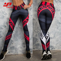 Custom Yoga Pants Women Sexy Red Striped Printing Gym Sport Leggings