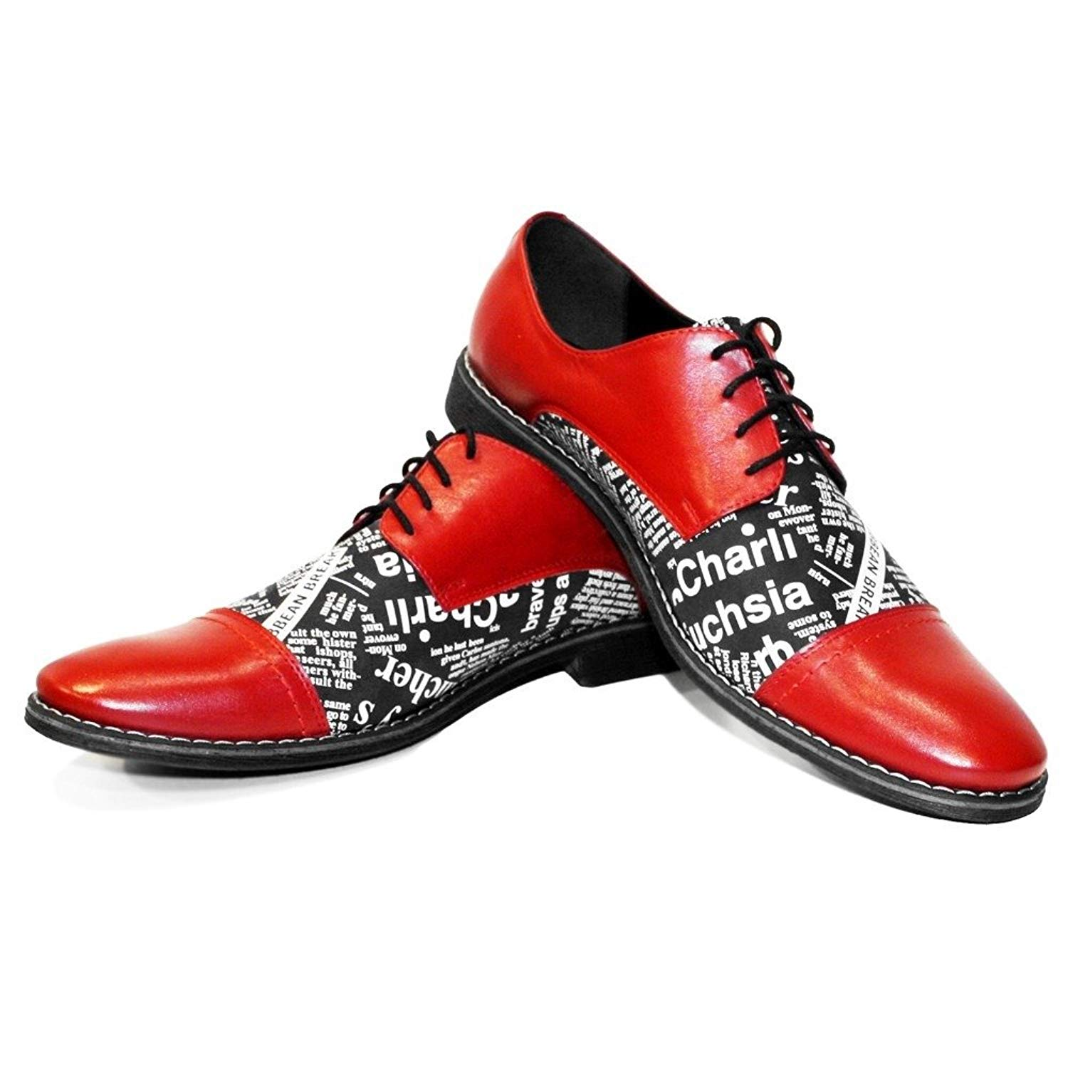 Modello RedPaper - Handmade Italian Mens Red Oxfords Dress Shoes - Cowhide Smooth Leather - Lace-up