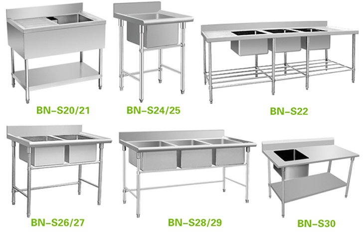 bn s26 two compartments stainless steel industrial sink with stand - Kitchen Sink Stands