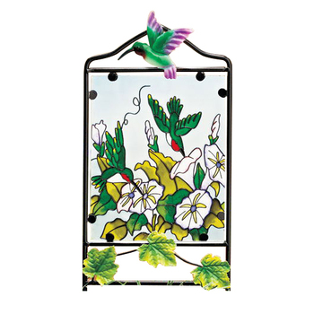 Flower Theme Stained Glass Art with Metal Frame Garden Stake