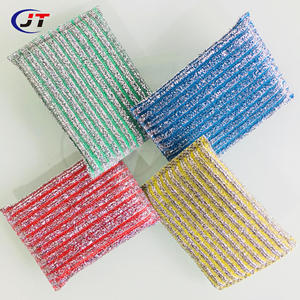 Household Different Color Plastic Thread Dish and Pot Wash Sponge Scrubber Scouring Pad Scourer