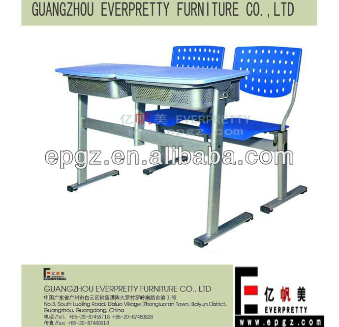 Adjustable school furniture supplier,Plastic drawer for desks,Plastic double student desk and chair