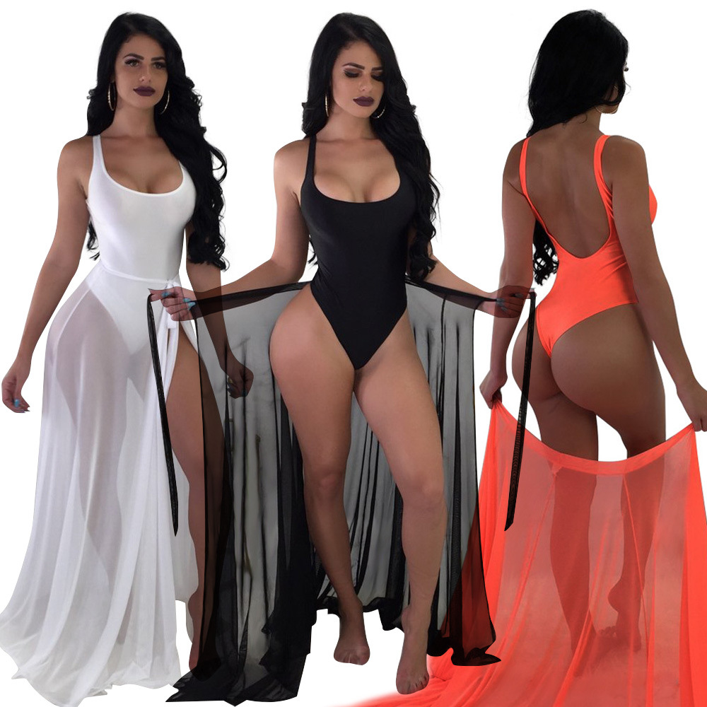 Drop shipping 2 Piece <strong>Swimsuits</strong> for Women one piece jumpsuit Swimwear and Ponchos Cover up