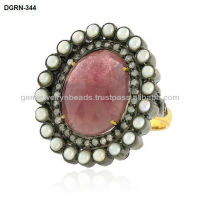 14k Gold Pave Diamond Oval Shape Ring Designer Ruby Pearl Gemstone Celebrity Style Ring