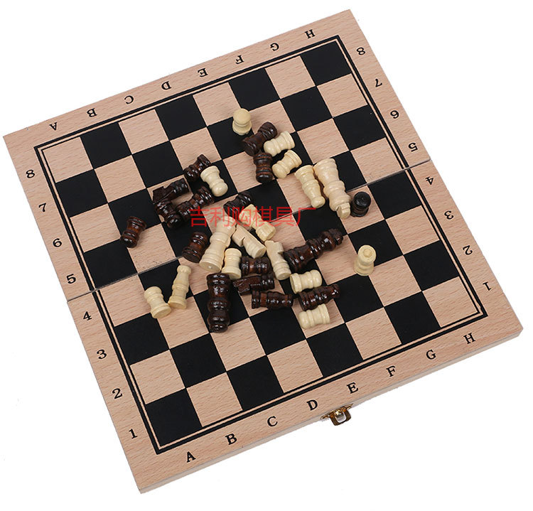 Wholesale Wooden Chess Set 3 in 1 Chess Board Backgammon Manufacturer Children Toy