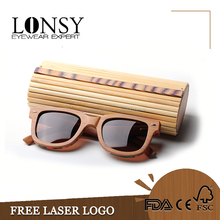 round bamboo box custom folding wood eye glasses storage case wholesale