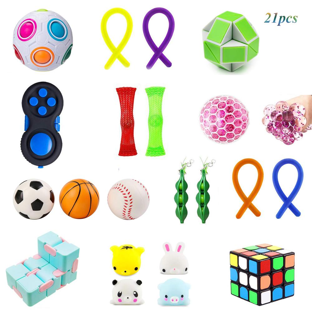 Sensory Fidget Toys Bundle-DNA Stress Relief Balls with Fidget Hand Toys for Anxiety Kids & Adults-Calming Toys for ADHD Autism