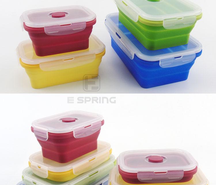 Microondas de-40 a 260 Grado de silicona caja de almuerzo Bento juego de cajas de almacenamiento de alimentos
