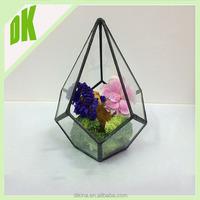 Air plant geometric container mobile terrarium / emerald green mobile terrarium / Black frame hanging geometric mobile terrarium