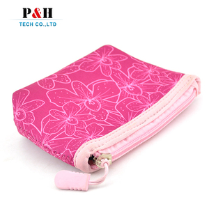 High quality portable durable red neoprene cosmetic pouch waterproof travel makeup bag