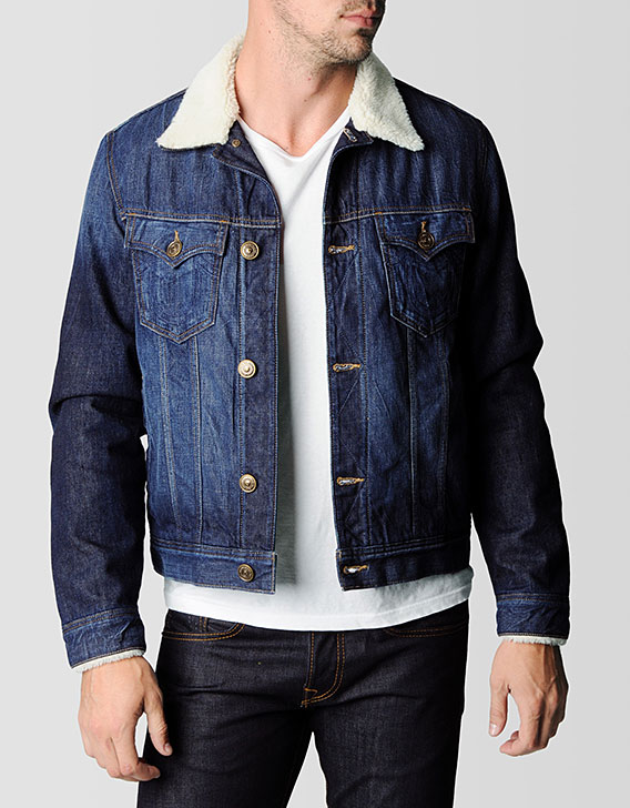 Fur denim jacket mens