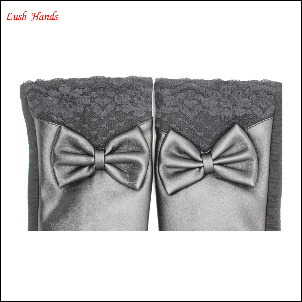 fashion ladies black PU leather gloves black spandex velvet have black lace and bow