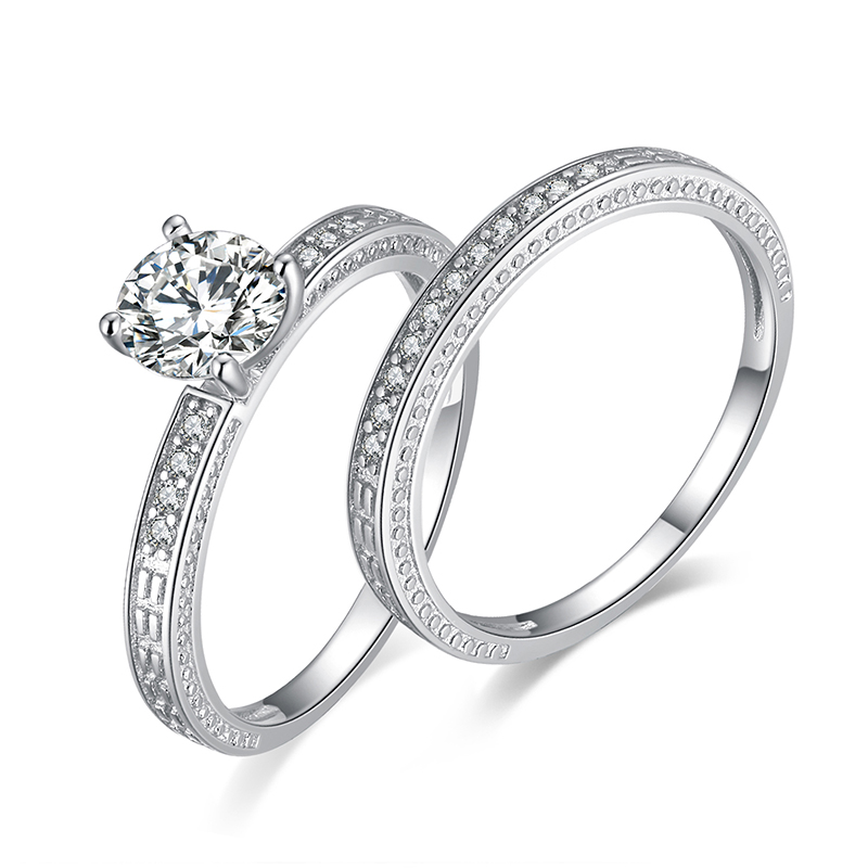 JewelryPalace Vintage 1.3ct Anniversary Wedding Band Engagement Ring Bridal Sets 925 Sterling Silver Jewelry For Women