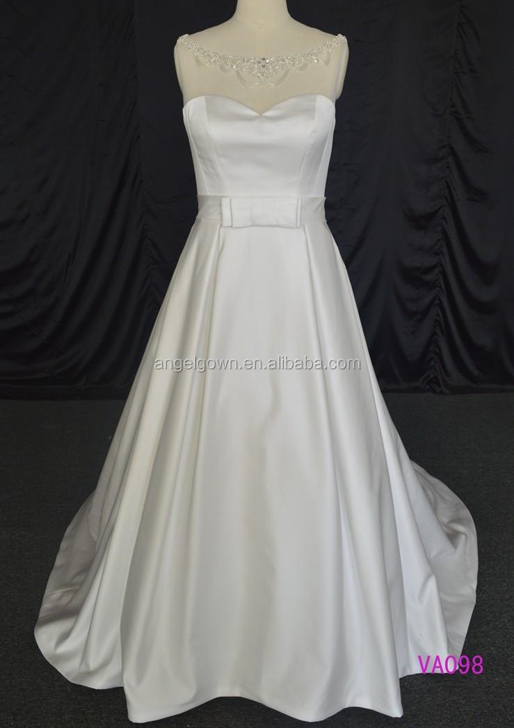 Va098 Boat Neckline Low Back With Pearl Beading France Design Satin Long Train Wedding Dress
