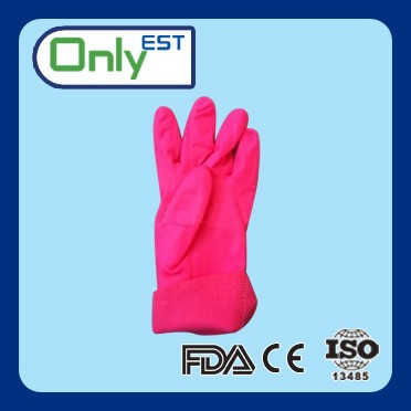 Long arm sanitary pink color Europe standard household pvc gloves