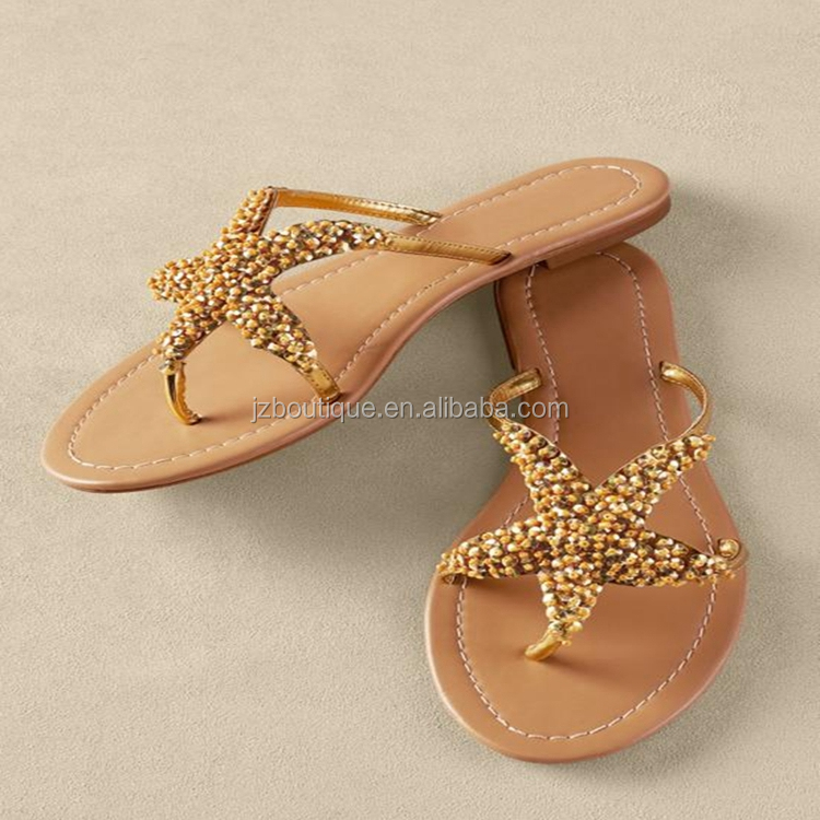 bfb13531f80af Women Fancy Sliver Starfish Beaded Sealife Wedding Flat Sandals ...