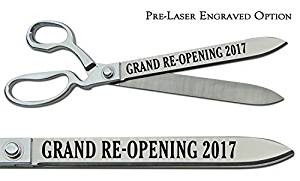 """Pre-Laser Engraved """"GRAND RE-OPENING 2017"""" 15"""" Chrome Plated Ceremonial Ribbon Cutting Scissors"""