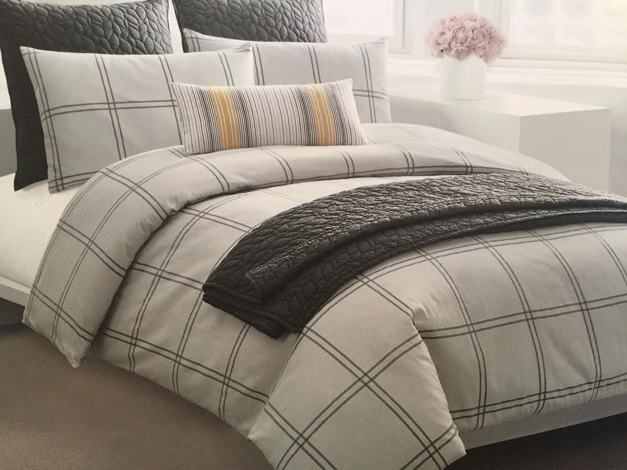 DKNY Classic Grey Plaid 100% Cotton Flannel Duvet Cover 3p Set Light Gray and Slate Modern Geo Print Ultra Soft Bedding in King or Queen Size (King)