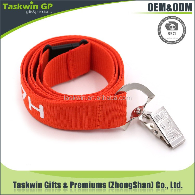 2017 Cheapest polyester red Lanyard With Silk Screen cord strap