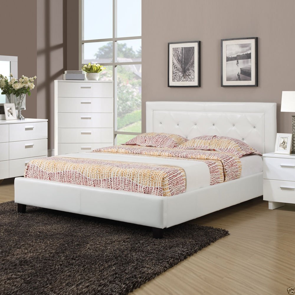 1PerfectChoice Modern Faux Leather Button Tufting White Queen Full Bed w/ Slats Bedroom Deluxe