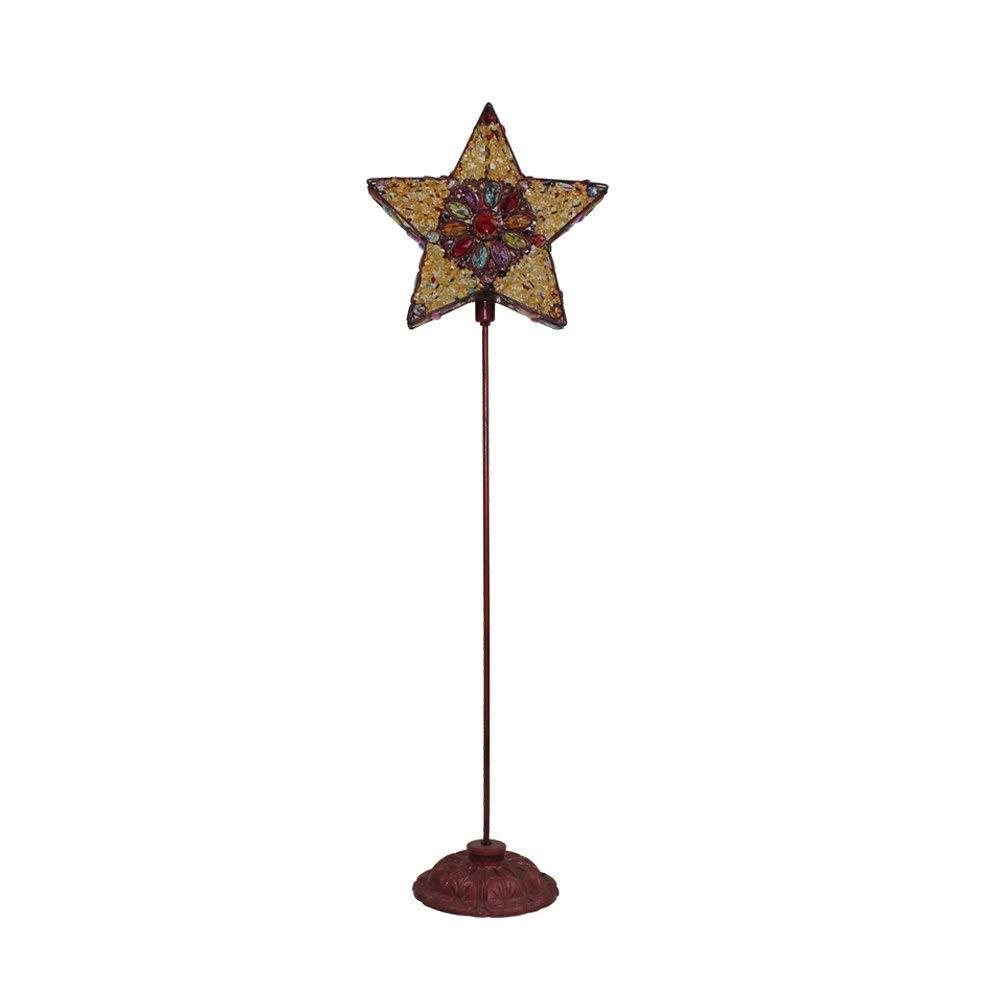 WAN SAN QIAN- Creative Moroccan Iron Beaded Floor Lamp Children's Bedroom Vertical Retro Lamp Decorative Lights E141 Floor Lamp (Size : S)
