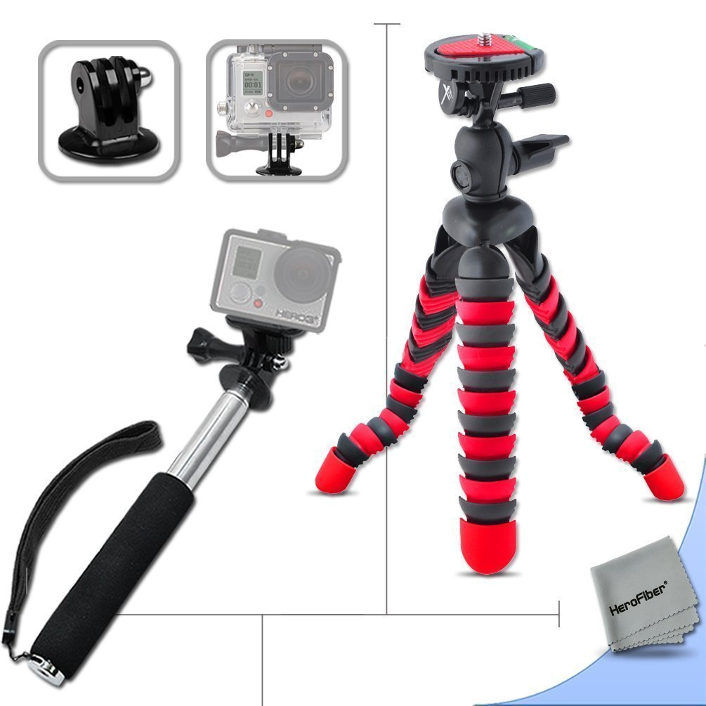 Xtech® 12 Inch Flexible Tripod and Handheld Monopod Kit for GOPro HERO4 Hero, GoPro Hero3 Hero 3, GoPro Hero3+, GoPro Hero2, GoPro HD Motorsports HERO, GoPro Surf Hero, GoPro Hero Naked, GoPro Hero 960, GoPro Hero HD 1080p, GoPro Hero2 Outdoor Edition Digital Cameras