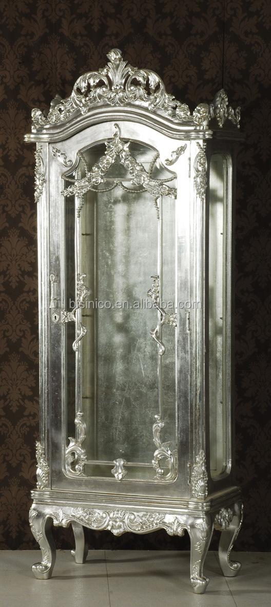 Exquisite Wood Carved Display Cabinet,Silver Leaf Living Room Side ...