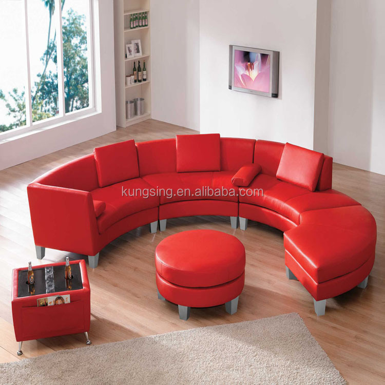 half round sectional leather sofa
