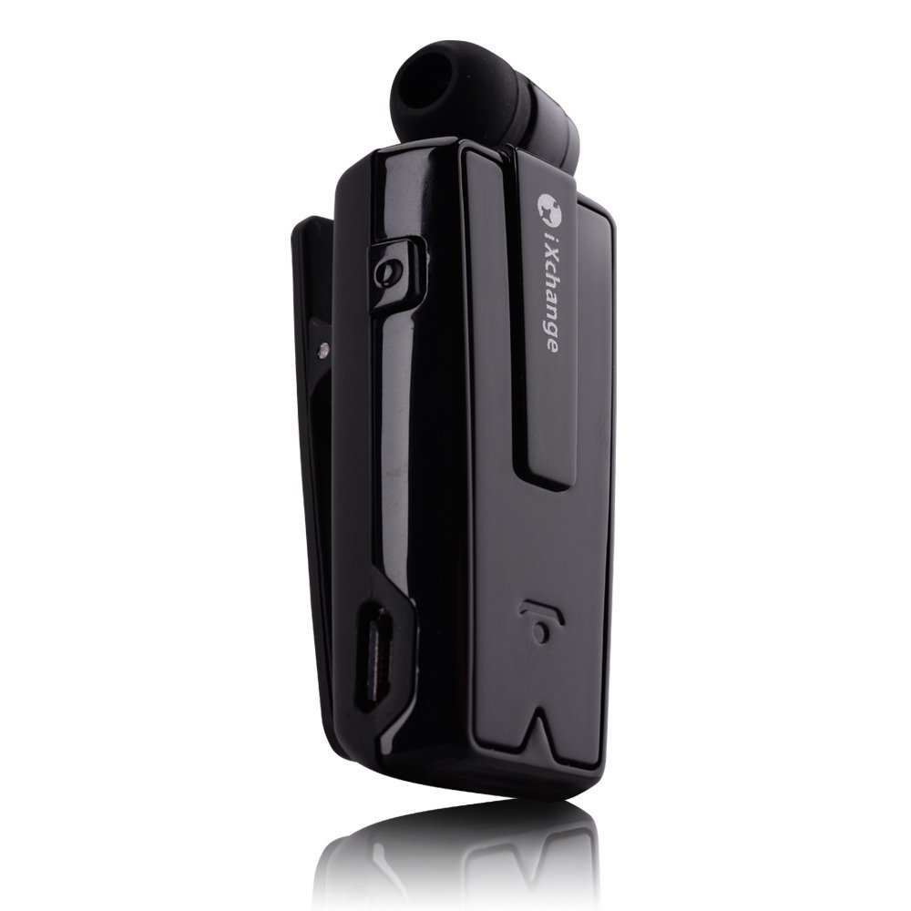 9e8acc41fc4 Get Quotations · iXchange 4.1 Wireless Clip On Bluetooth Headset, Music  Mini Retractable Bluetooth Earphone with Incoming Call