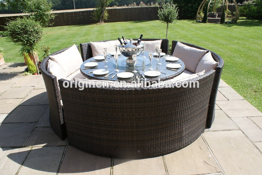 Chinese company garden treasures rattan dining furniture for Sofa exterior rattan sintetico