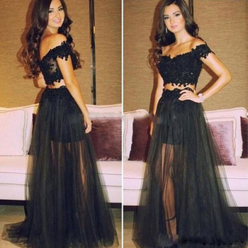 Black Elegant Off-The-Shoulder Long Modern Prom Dresses A Line Sleeveless Evening Dress