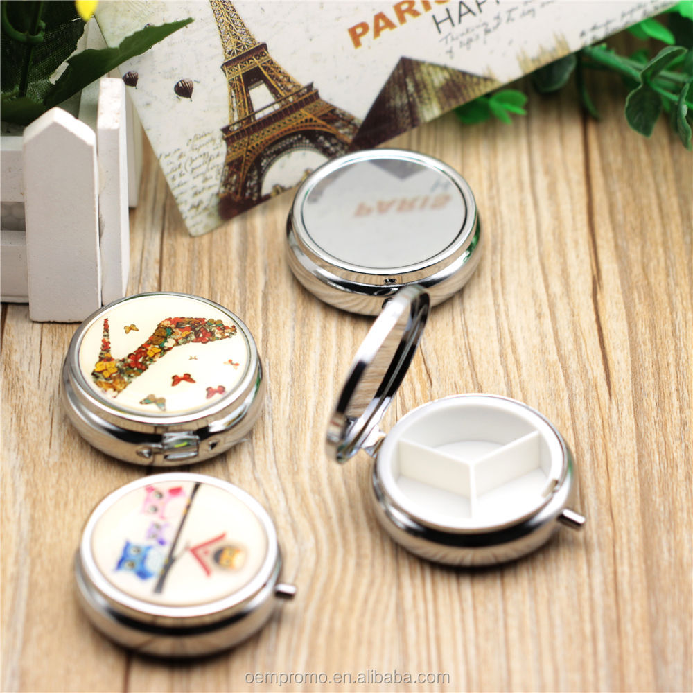 Promotional customized metal folding Pill box with plastic inside for Makeup Storage Container