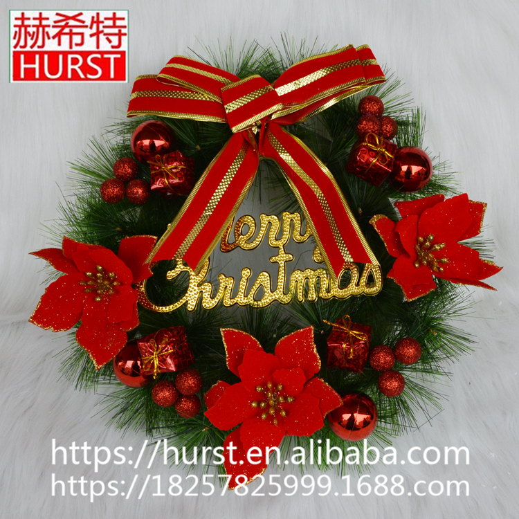 High Quality Green Artificial Christmas Wreath With Ball And Pine Needle