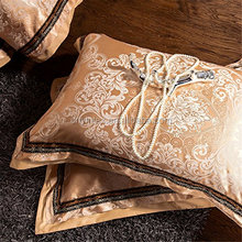 rich and sophisticated Silk Cotton Jacquard Fabric Duvet Cover Bedding Sets