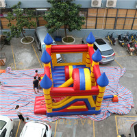 Factory used commercial great workmanship kids size jump combo house inflatable bounce castle with slide