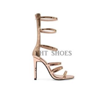 82bf6fd10f5b Latest design girls rose gold party wear shoes metallic PU high heel sandals