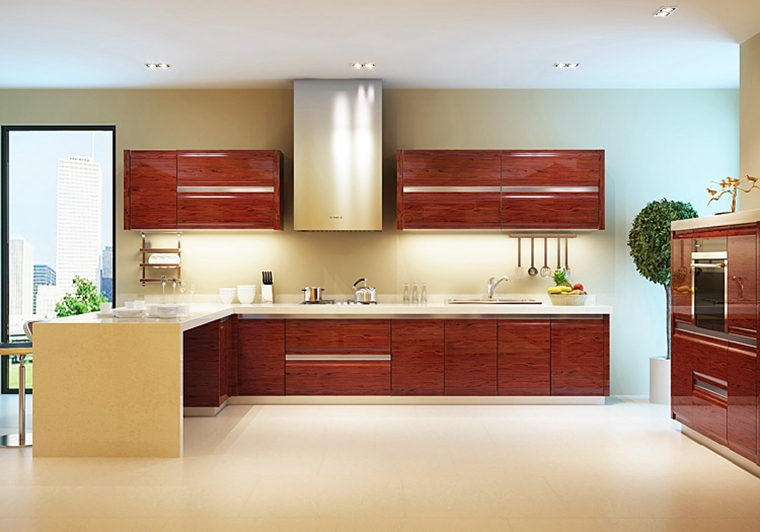 new design rosewood or beech wood kitchen cabinet from guangzhou professional kitchen cabinet manufacturer - Rosewood Kitchen Cabinets