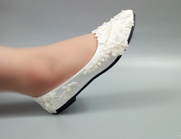 Top quality white color satin and lace large women flat wedding shoes for bride with pearls MWSB4