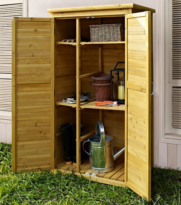 Natural Wood Garden Tool Storage Shed