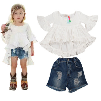 Children's summer boutique cheap american apparel baby girl leisure clothes