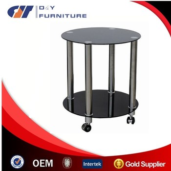 Movable Black Small Coffee Table Set With Wheels Bed Side