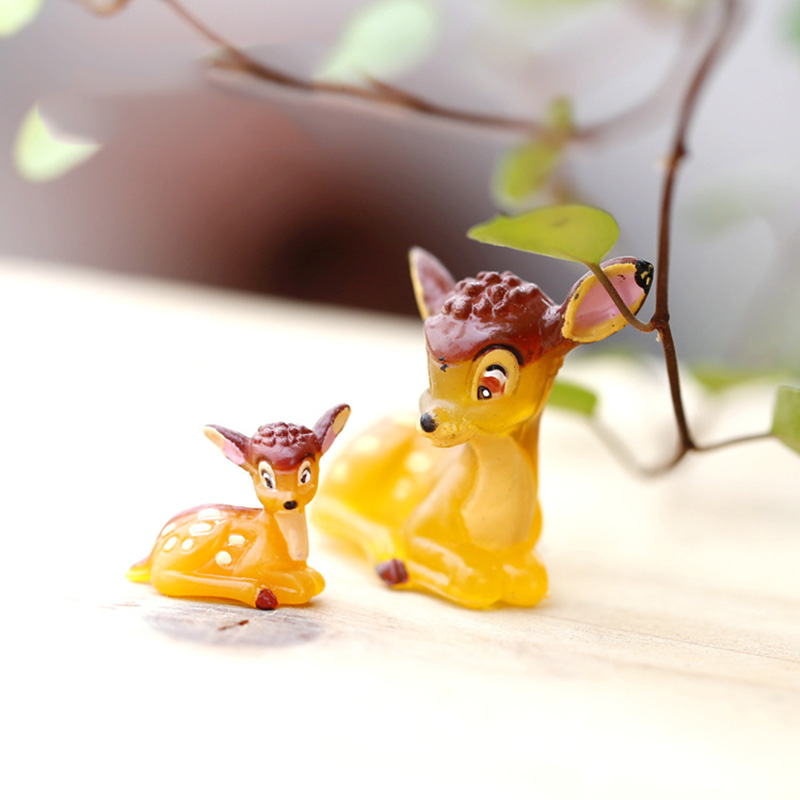 Factory Outlet Deer Figurine Miniature Resin Craft Cartoon Mini Animal Ornament Fairy Garden Decoration Accessorie Deer Figurine
