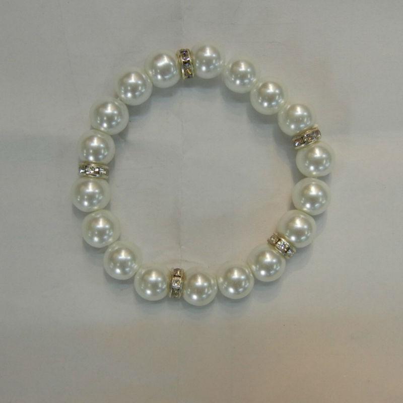 Barato simple pulsera de la perla, Chicas perlas pulseras elásticas