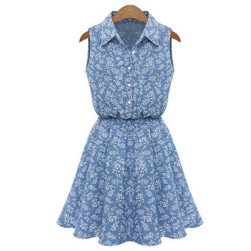 Summer Vestidos Femininos Dress Lapel Sleeveless Slim Denim Women Dress Elastic Waist Women Casual Dress Tropical Sundress A3023