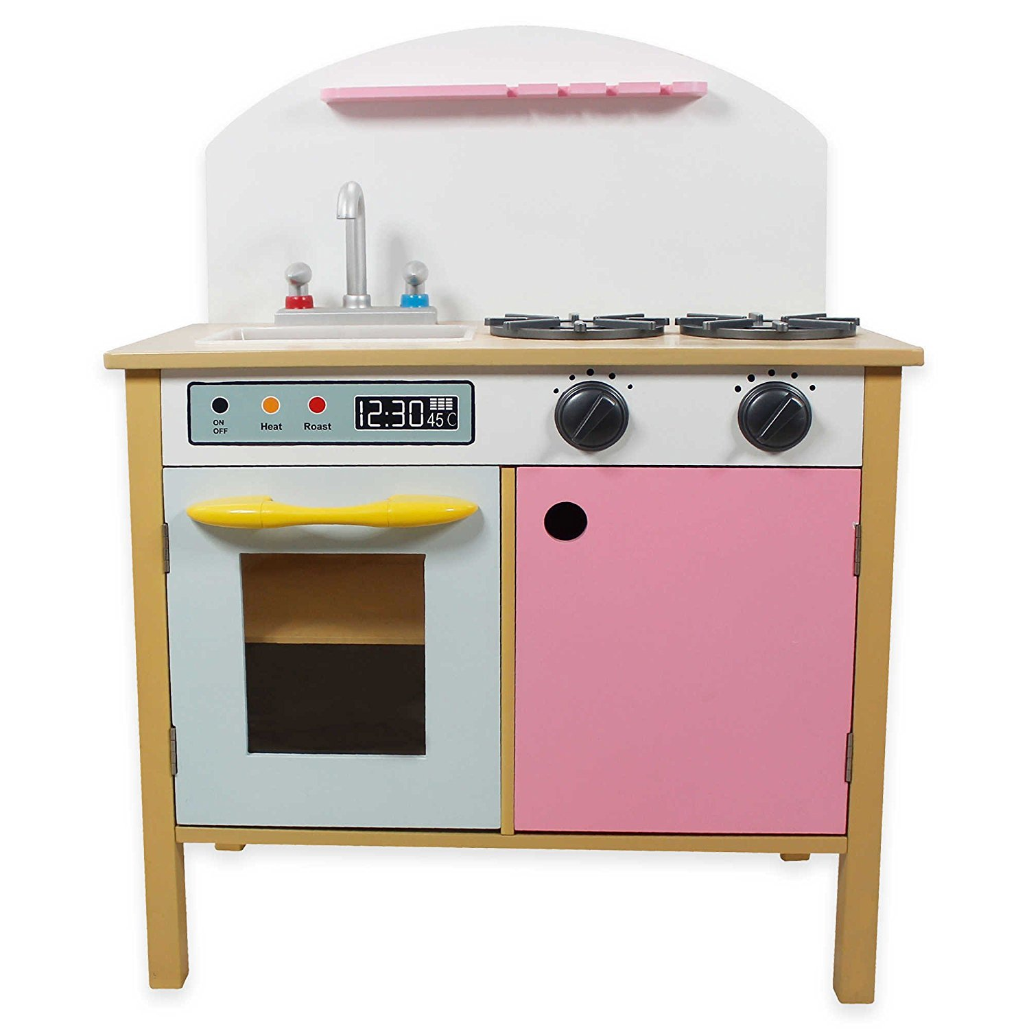 Teamson kids dual doors play kitchen set toy kids food cooking pink