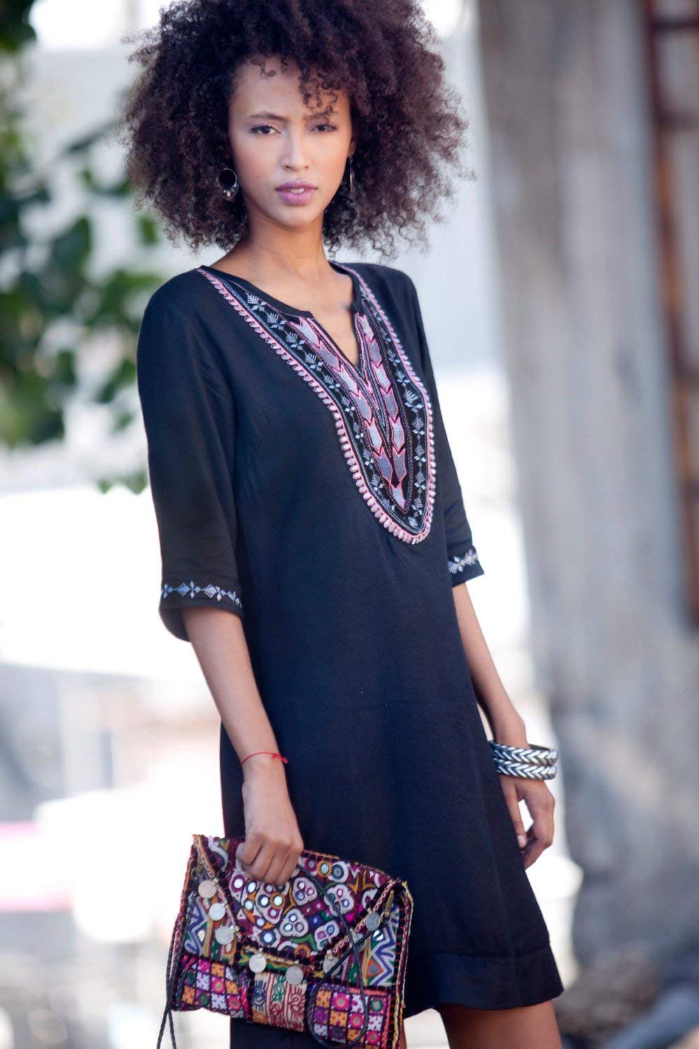 e265a763735 Get Quotations · Black Tunic dress, Caftan Dress with sleeves, Boho Ethnic Embroidery  Dress, Bohemian Moroccan